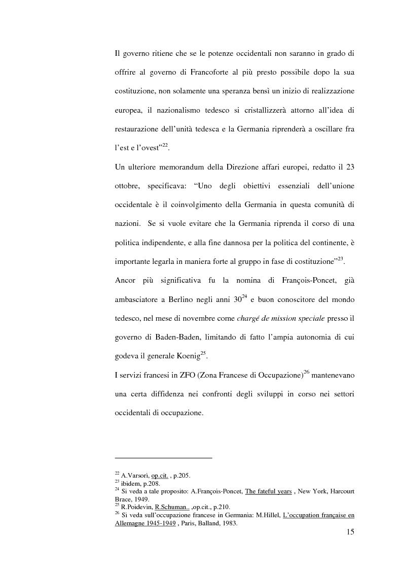 Anteprima della tesi: La diplomazia francese e la questione tedesca dalla nascita della Repubblica Federale agli accordi di Bonn e di Parigi 1949-1952, Pagina 14