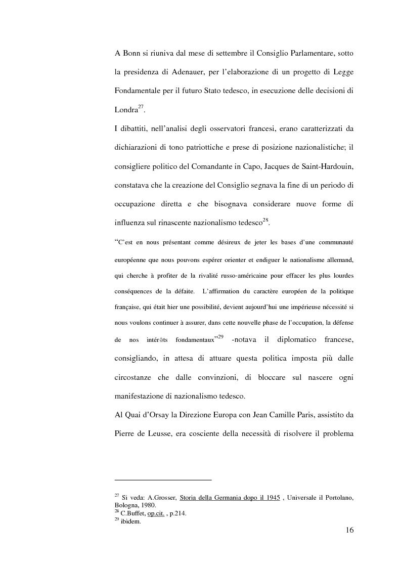 Anteprima della tesi: La diplomazia francese e la questione tedesca dalla nascita della Repubblica Federale agli accordi di Bonn e di Parigi 1949-1952, Pagina 15