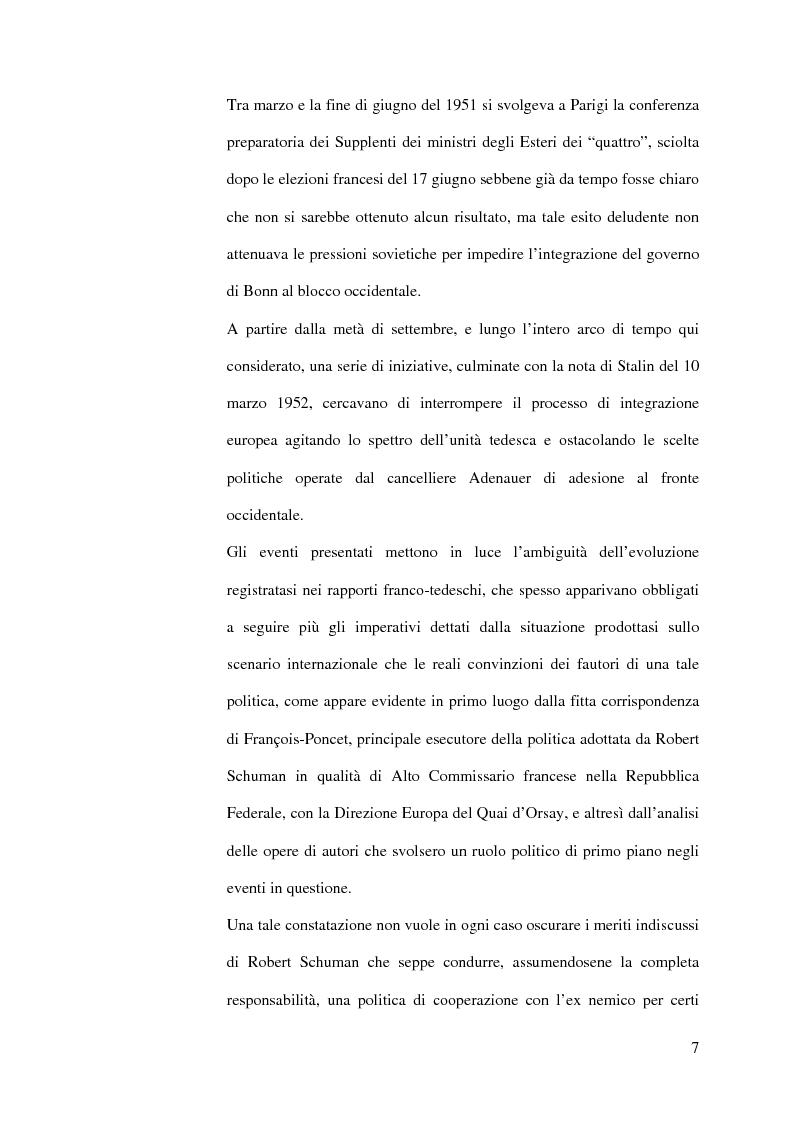 Anteprima della tesi: La diplomazia francese e la questione tedesca dalla nascita della Repubblica Federale agli accordi di Bonn e di Parigi 1949-1952, Pagina 6