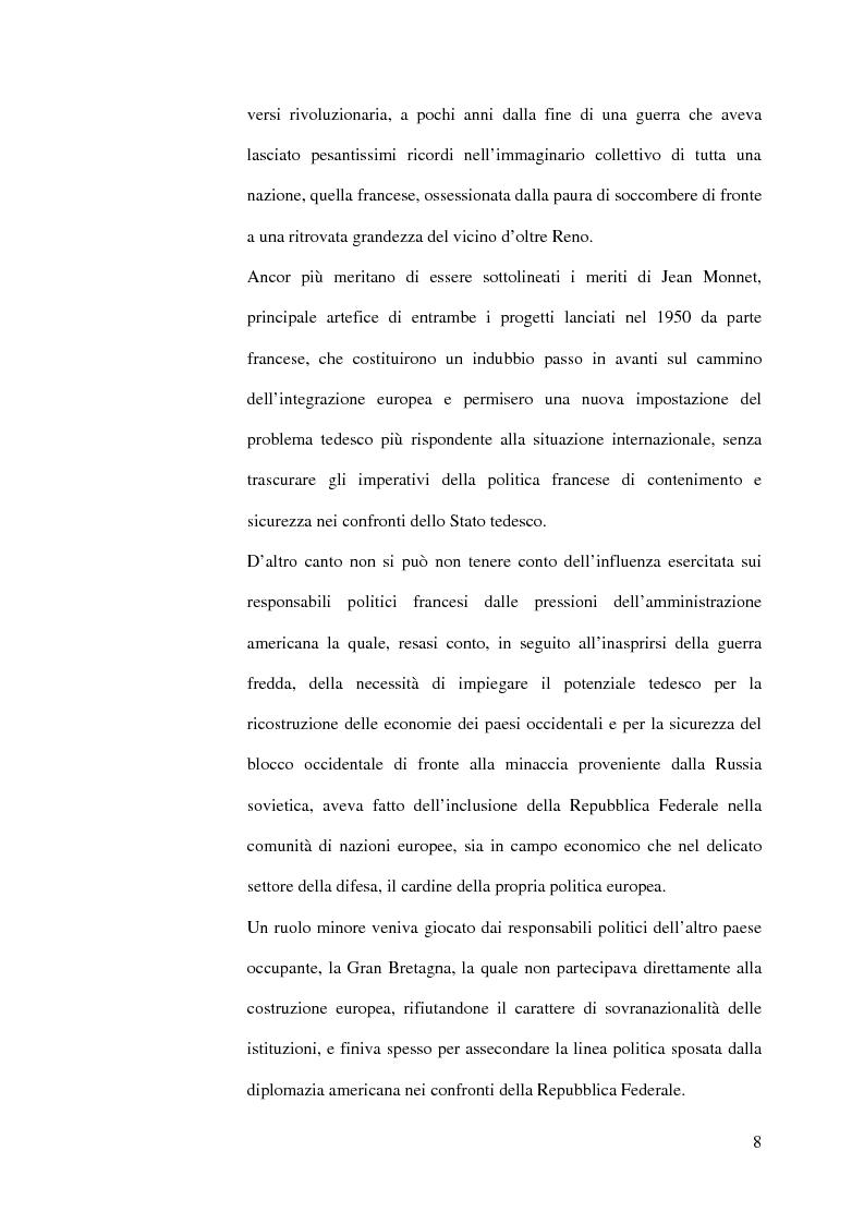Anteprima della tesi: La diplomazia francese e la questione tedesca dalla nascita della Repubblica Federale agli accordi di Bonn e di Parigi 1949-1952, Pagina 7