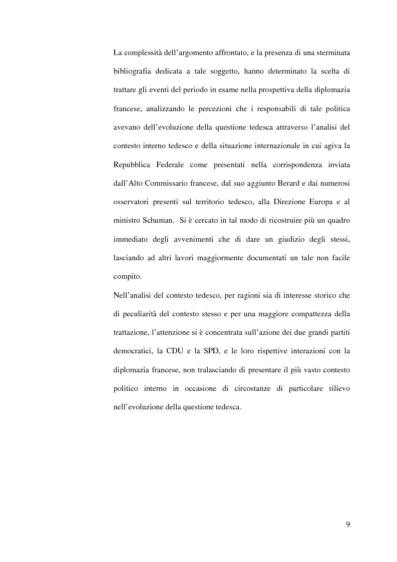 Anteprima della tesi: La diplomazia francese e la questione tedesca dalla nascita della Repubblica Federale agli accordi di Bonn e di Parigi 1949-1952, Pagina 8