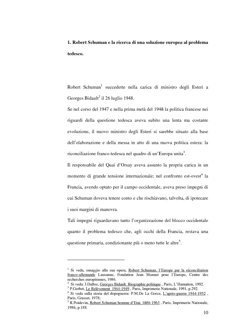 Anteprima della tesi: La diplomazia francese e la questione tedesca dalla nascita della Repubblica Federale agli accordi di Bonn e di Parigi 1949-1952, Pagina 9