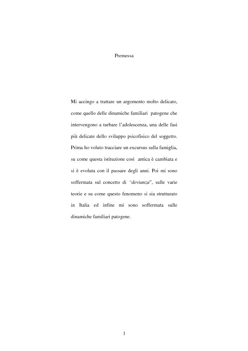 Anteprima della tesi: Dinamiche familiari patogene nell'adolescenza, Pagina 1