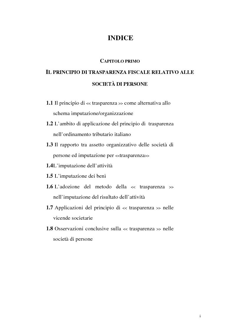 Indice della tesi: Il principio di trasparenza per le società di capitali ora introdotto alla luce del confronto con quello relativo alle società di persone, Pagina 1
