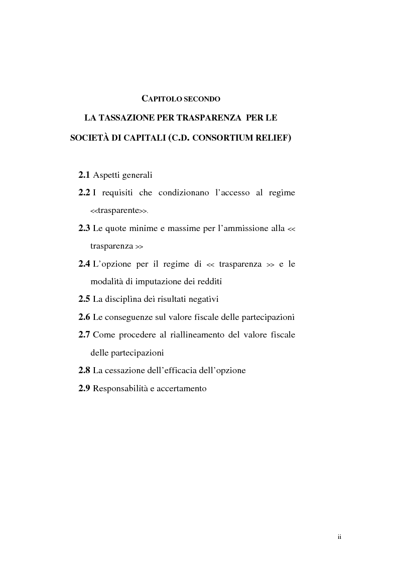 Indice della tesi: Il principio di trasparenza per le società di capitali ora introdotto alla luce del confronto con quello relativo alle società di persone, Pagina 2