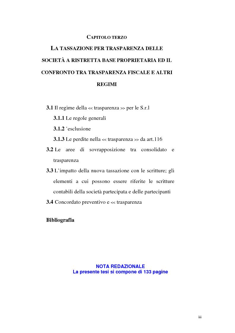 Indice della tesi: Il principio di trasparenza per le società di capitali ora introdotto alla luce del confronto con quello relativo alle società di persone, Pagina 3