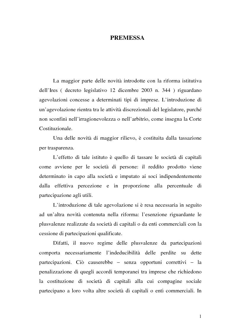 Anteprima della tesi: Il principio di trasparenza per le società di capitali ora introdotto alla luce del confronto con quello relativo alle società di persone, Pagina 1