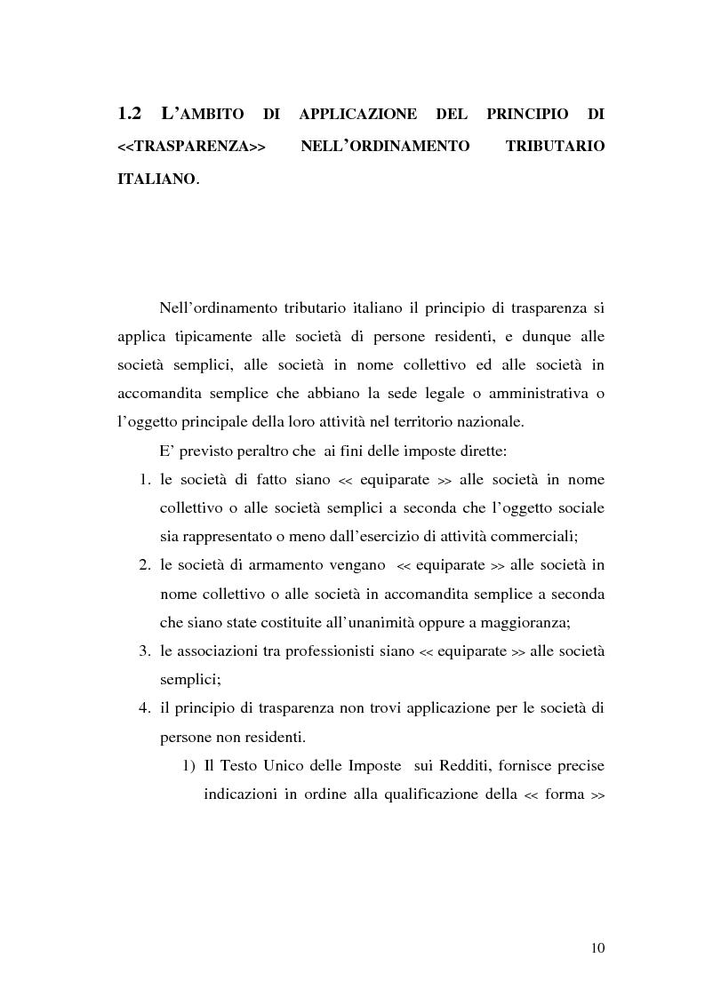Anteprima della tesi: Il principio di trasparenza per le società di capitali ora introdotto alla luce del confronto con quello relativo alle società di persone, Pagina 10