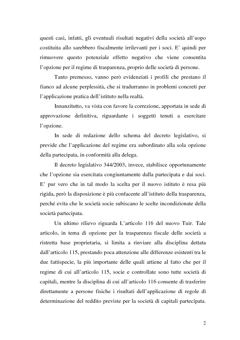 Anteprima della tesi: Il principio di trasparenza per le società di capitali ora introdotto alla luce del confronto con quello relativo alle società di persone, Pagina 2