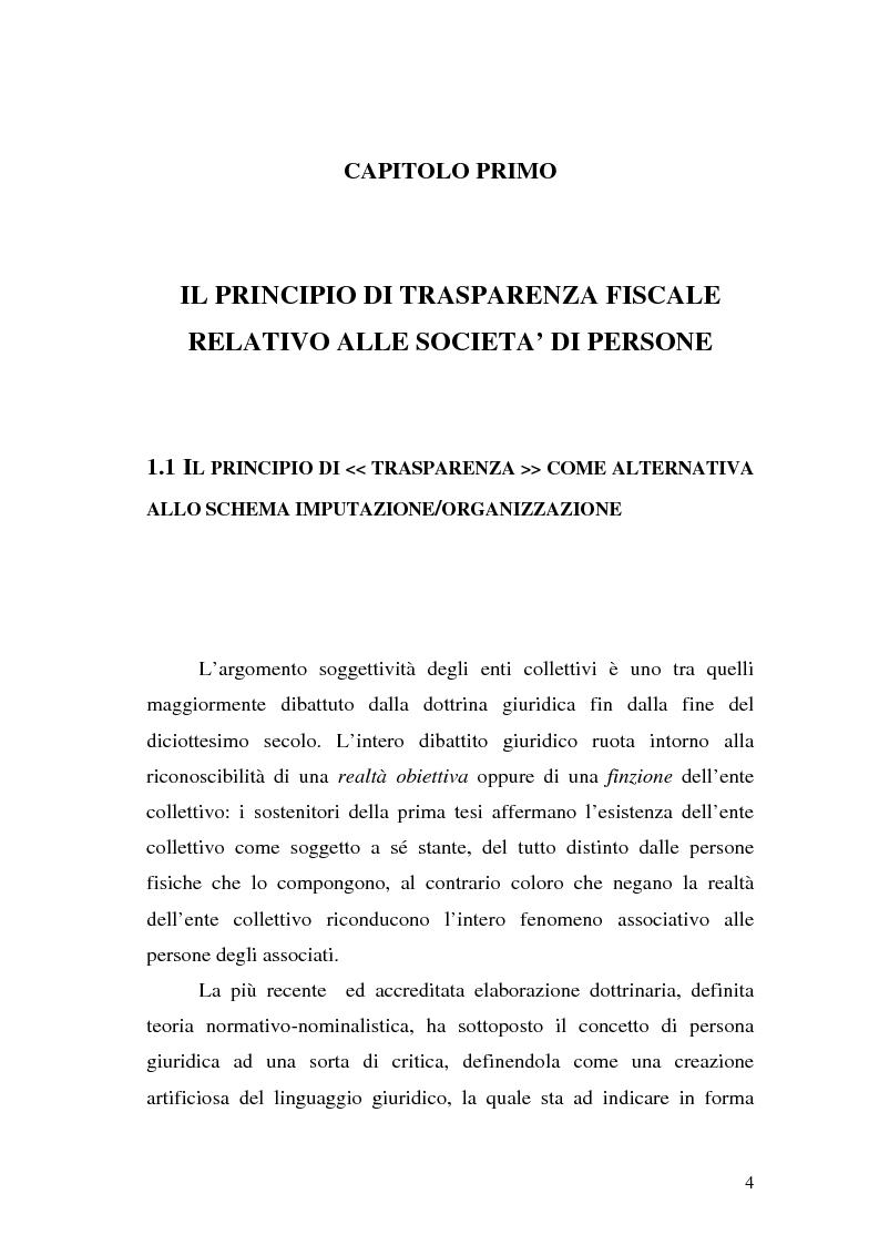 Anteprima della tesi: Il principio di trasparenza per le società di capitali ora introdotto alla luce del confronto con quello relativo alle società di persone, Pagina 4