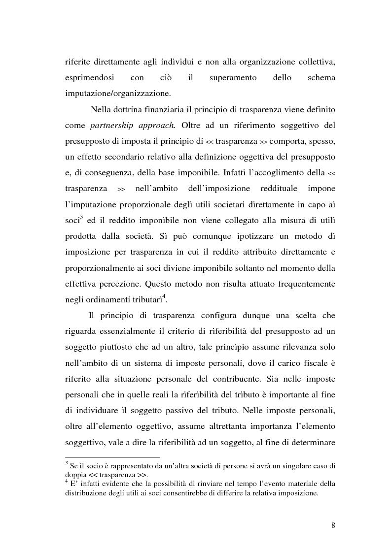 Anteprima della tesi: Il principio di trasparenza per le società di capitali ora introdotto alla luce del confronto con quello relativo alle società di persone, Pagina 8