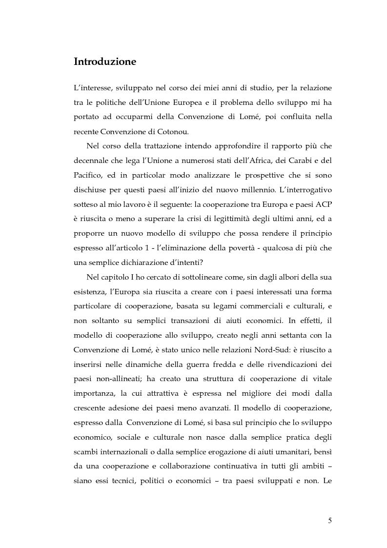Anteprima della tesi: L'evoluzione della cooperazione giuridica UE-ACP da Lomé a Cotonou, Pagina 1