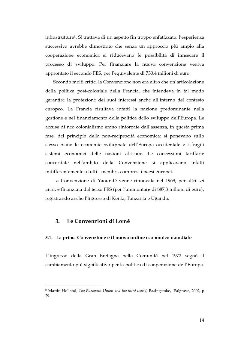 Anteprima della tesi: L'evoluzione della cooperazione giuridica UE-ACP da Lomé a Cotonou, Pagina 10