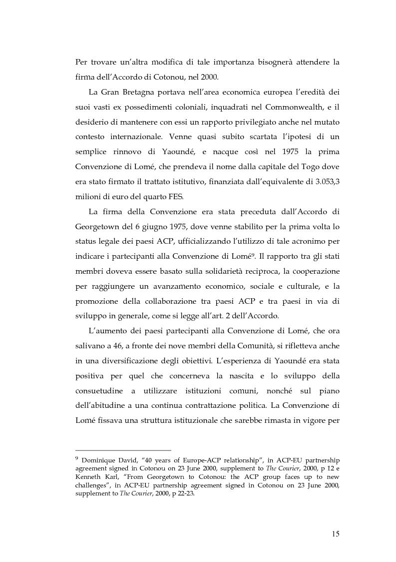 Anteprima della tesi: L'evoluzione della cooperazione giuridica UE-ACP da Lomé a Cotonou, Pagina 11