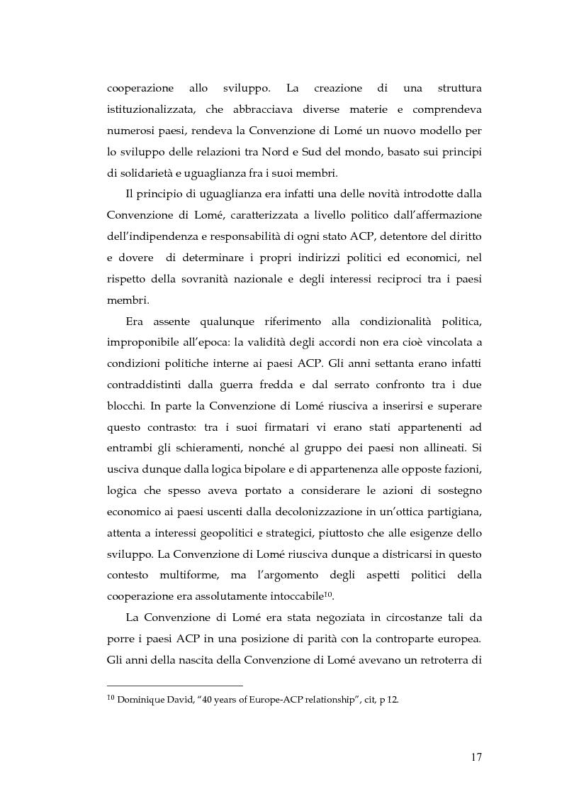 Anteprima della tesi: L'evoluzione della cooperazione giuridica UE-ACP da Lomé a Cotonou, Pagina 13