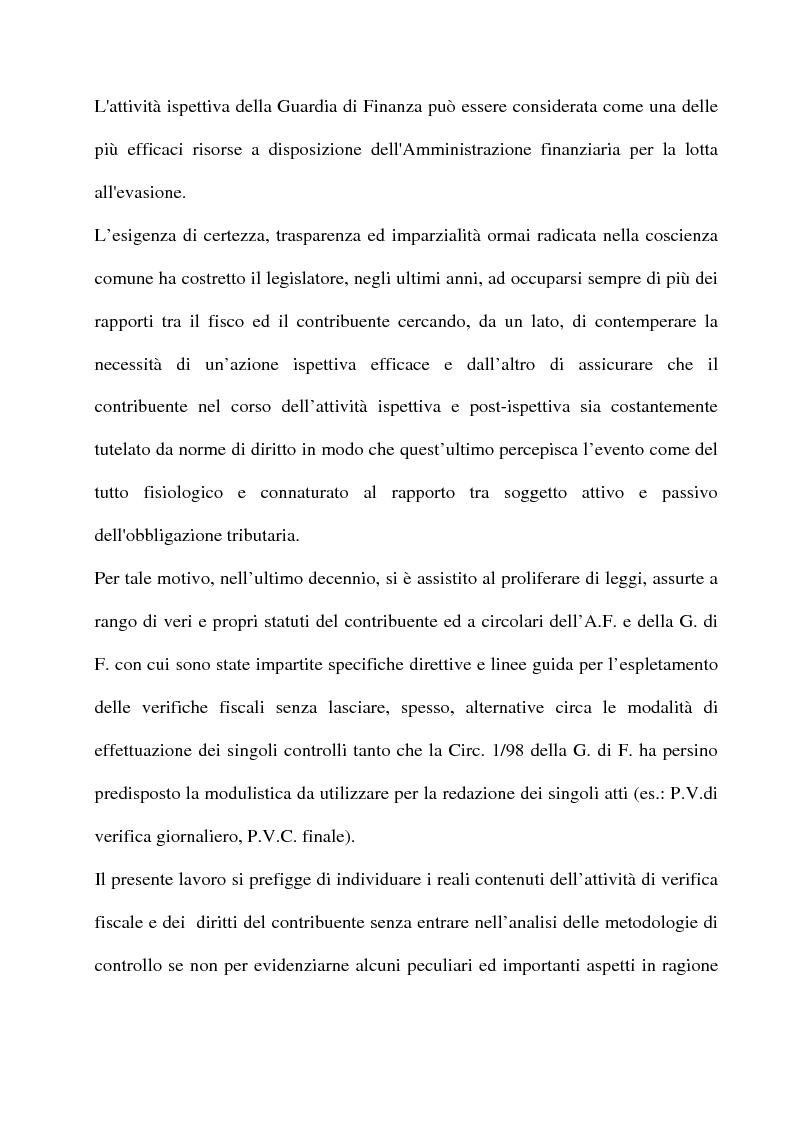 Anteprima della tesi: La tutela del contribuente e le verifiche fiscali della guardia di finanza, Pagina 2