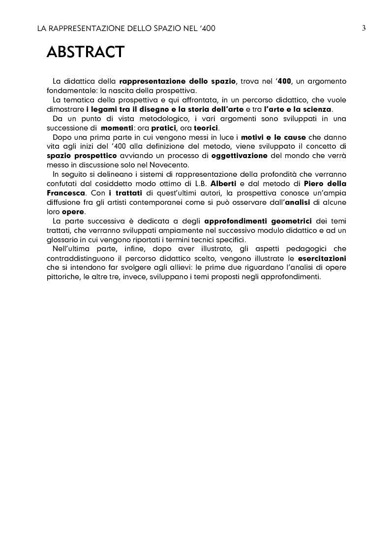 Anteprima della tesi: La rappresentazione dello spazio nel 400, Pagina 1