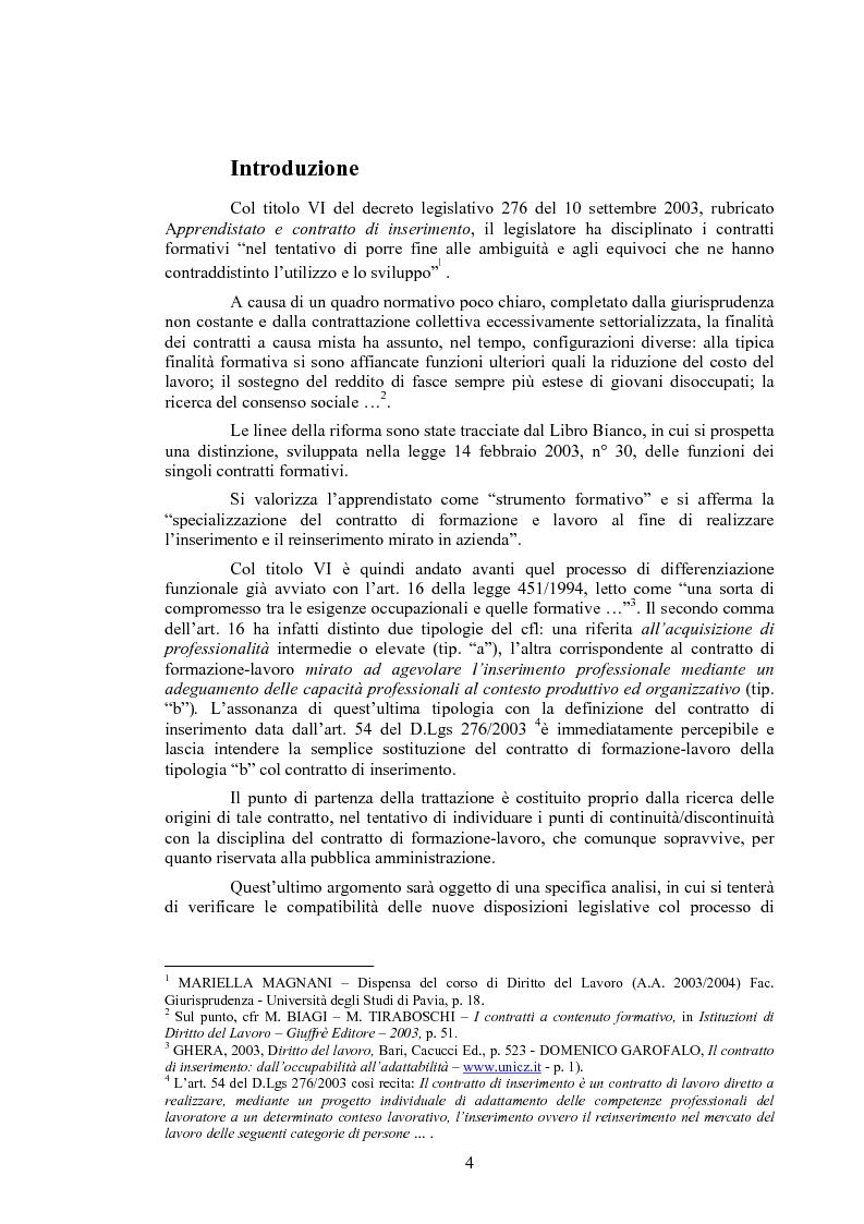 Anteprima della tesi: Il contratto di inserimento ed il CFL nel decreto legislativo 276/03, Pagina 1