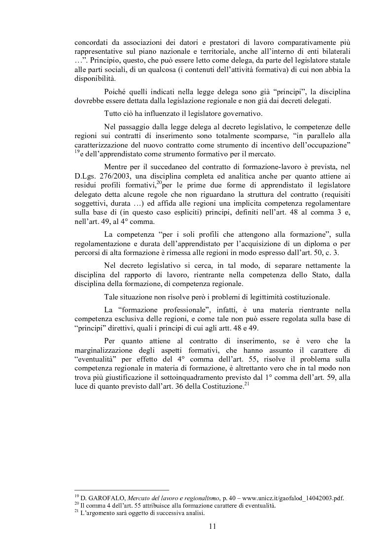 Anteprima della tesi: Il contratto di inserimento ed il CFL nel decreto legislativo 276/03, Pagina 8