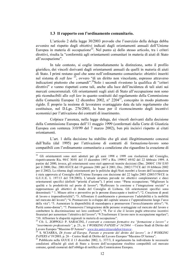 Anteprima della tesi: Il contratto di inserimento ed il CFL nel decreto legislativo 276/03, Pagina 9