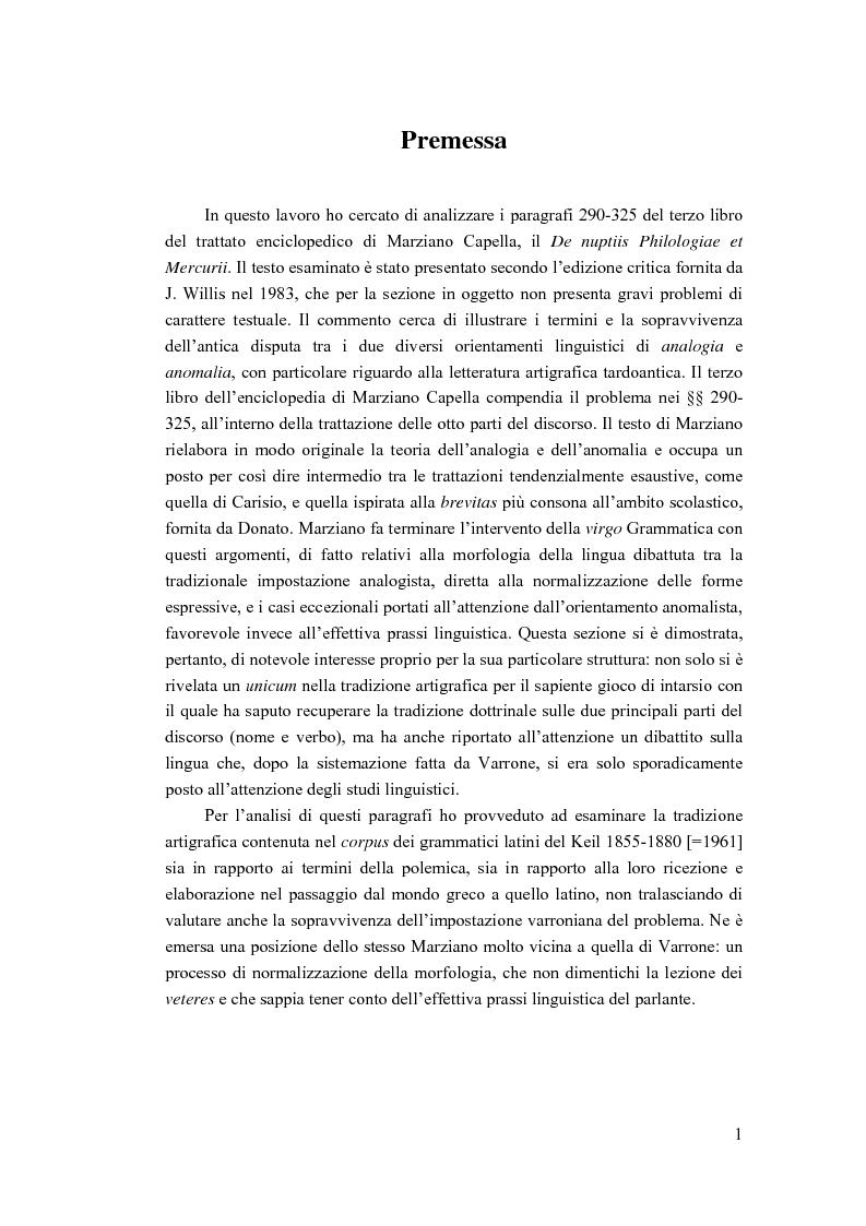 Anteprima della tesi: Analogia e anomalia in Marziano Capella, Pagina 1