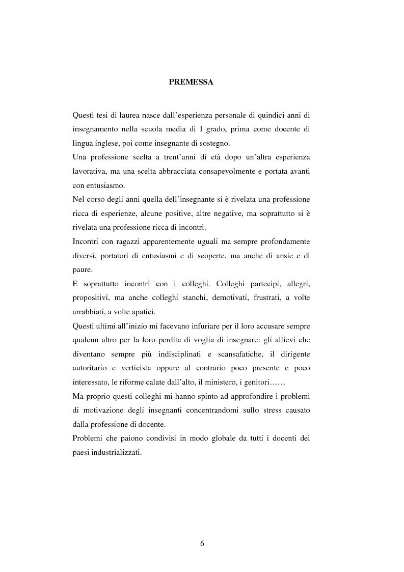 Anteprima della tesi: Mal di scuola: la sindrome del burn out negli insegnanti di scuola media, Pagina 1