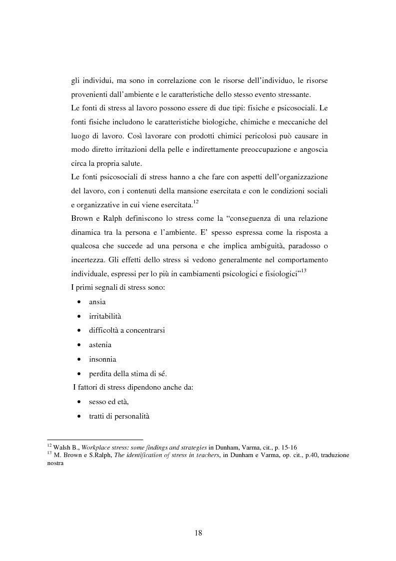Anteprima della tesi: Mal di scuola: la sindrome del burn out negli insegnanti di scuola media, Pagina 13