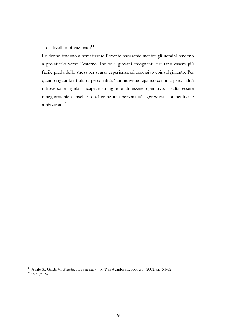 Anteprima della tesi: Mal di scuola: la sindrome del burn out negli insegnanti di scuola media, Pagina 14