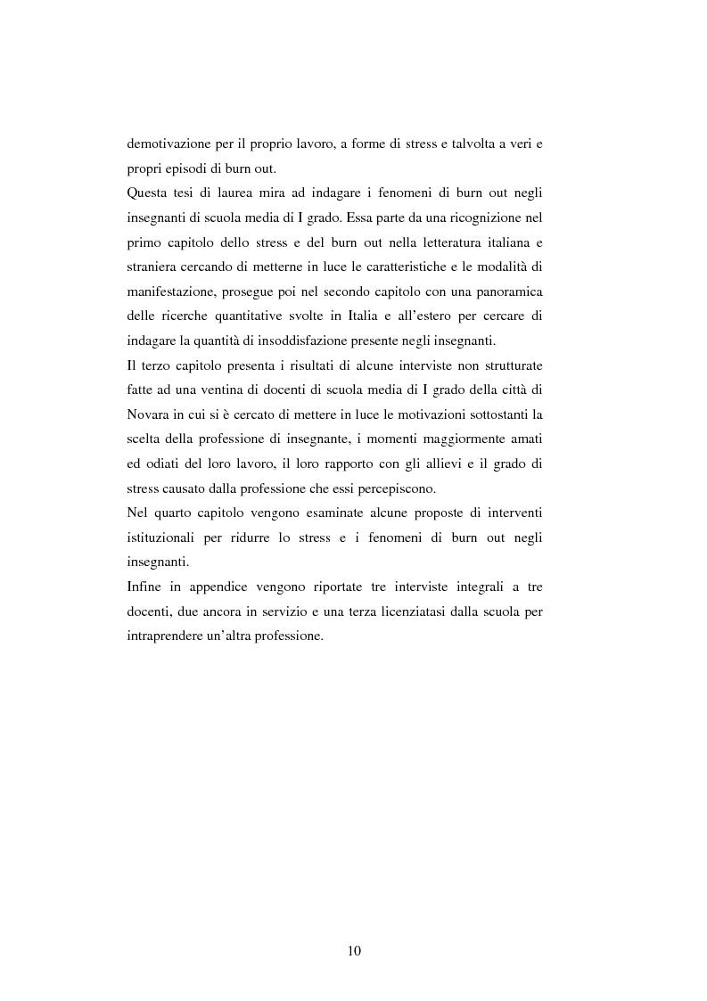 Anteprima della tesi: Mal di scuola: la sindrome del burn out negli insegnanti di scuola media, Pagina 5