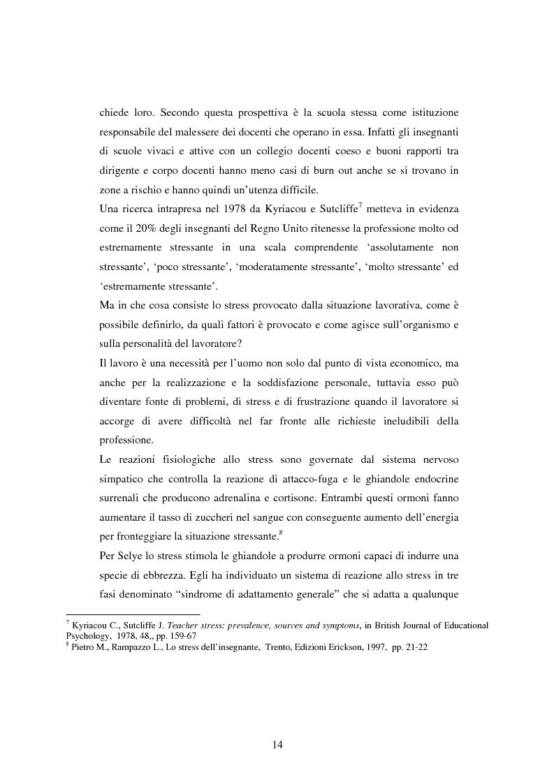 Anteprima della tesi: Mal di scuola: la sindrome del burn out negli insegnanti di scuola media, Pagina 9