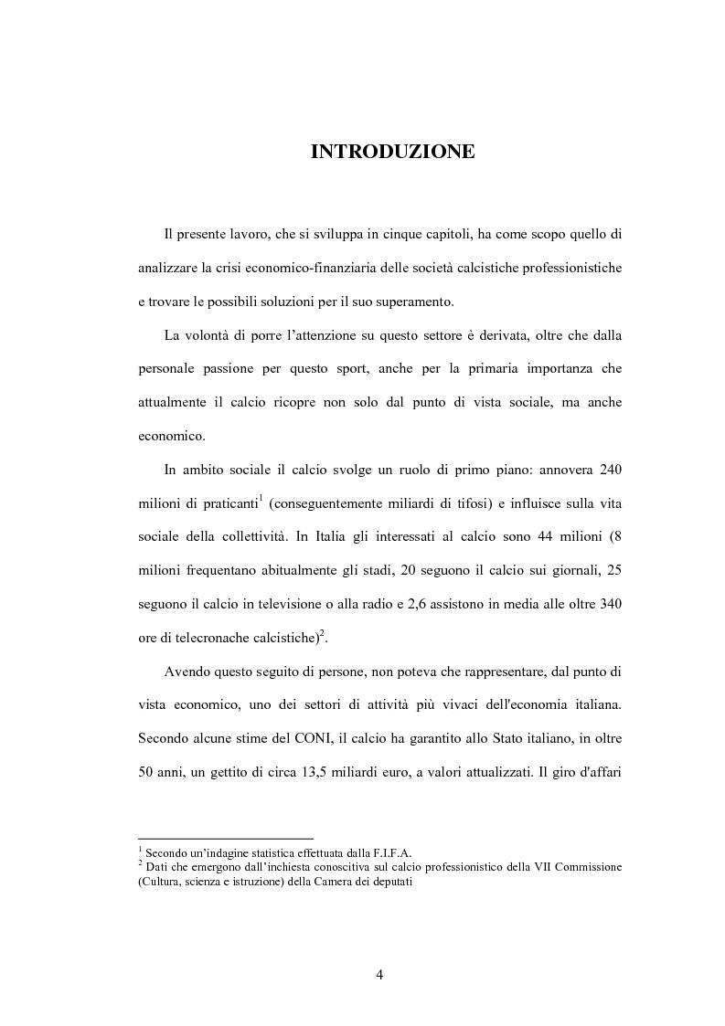 Anteprima della tesi: La crisi delle aziende calcistiche. Il caso S.S.Lazio, Pagina 1