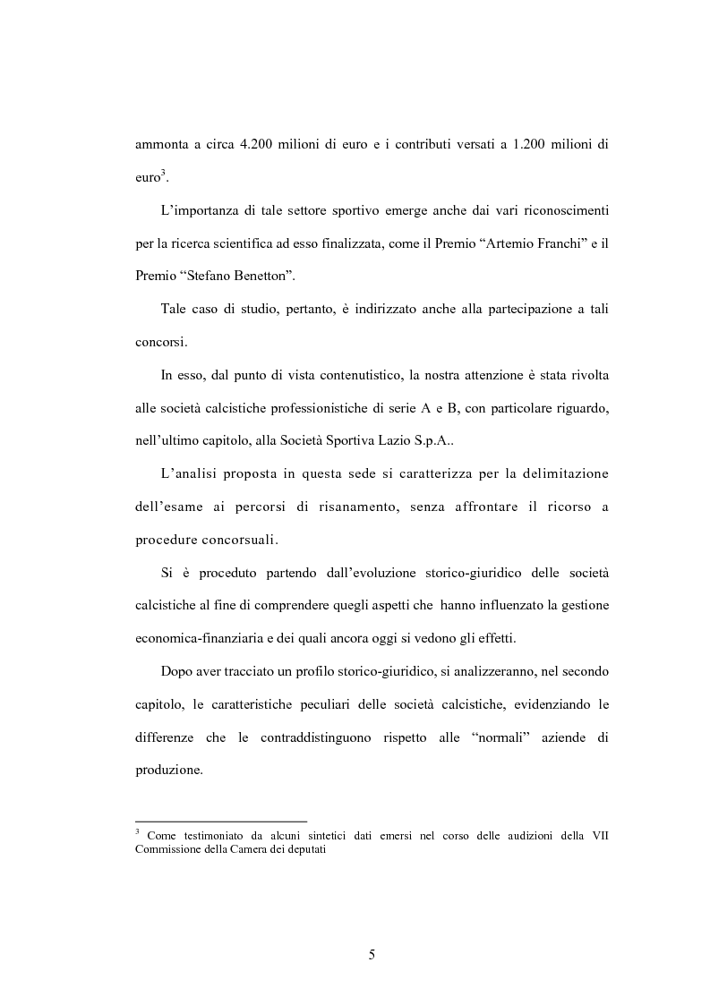 Anteprima della tesi: La crisi delle aziende calcistiche. Il caso S.S.Lazio, Pagina 2