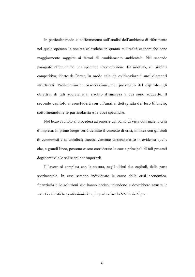 Anteprima della tesi: La crisi delle aziende calcistiche. Il caso S.S.Lazio, Pagina 3