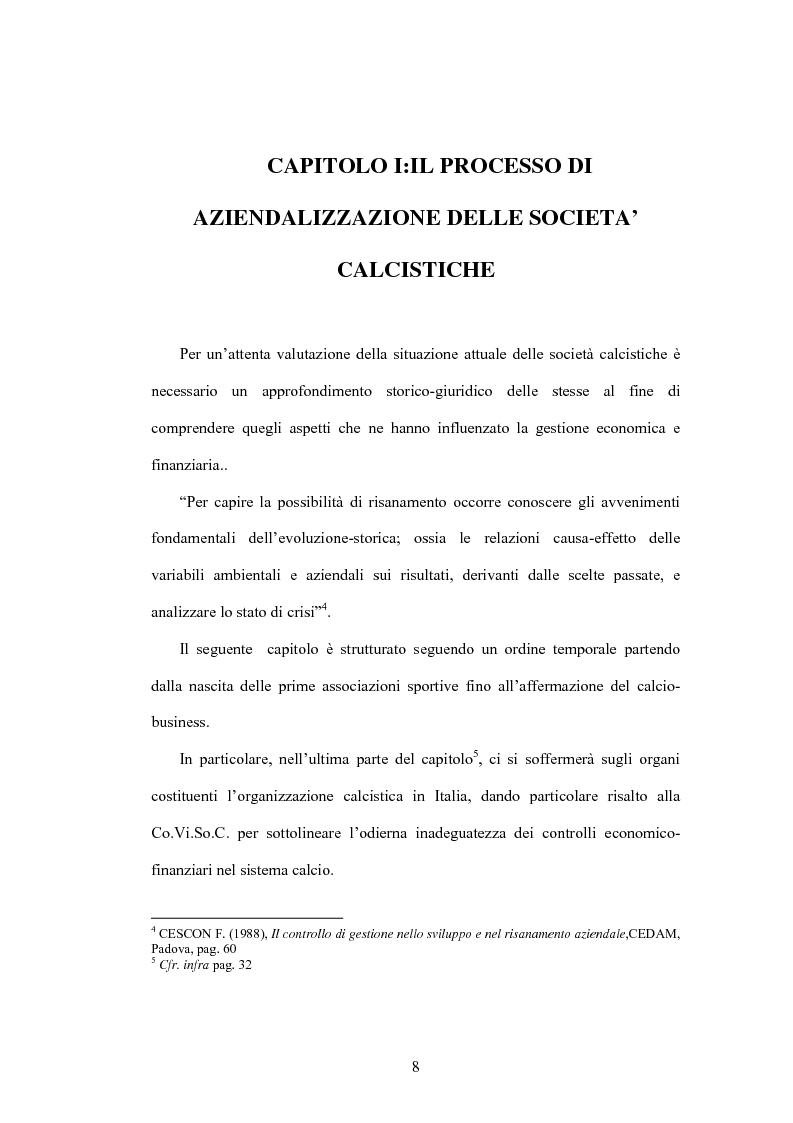 Anteprima della tesi: La crisi delle aziende calcistiche. Il caso S.S.Lazio, Pagina 5