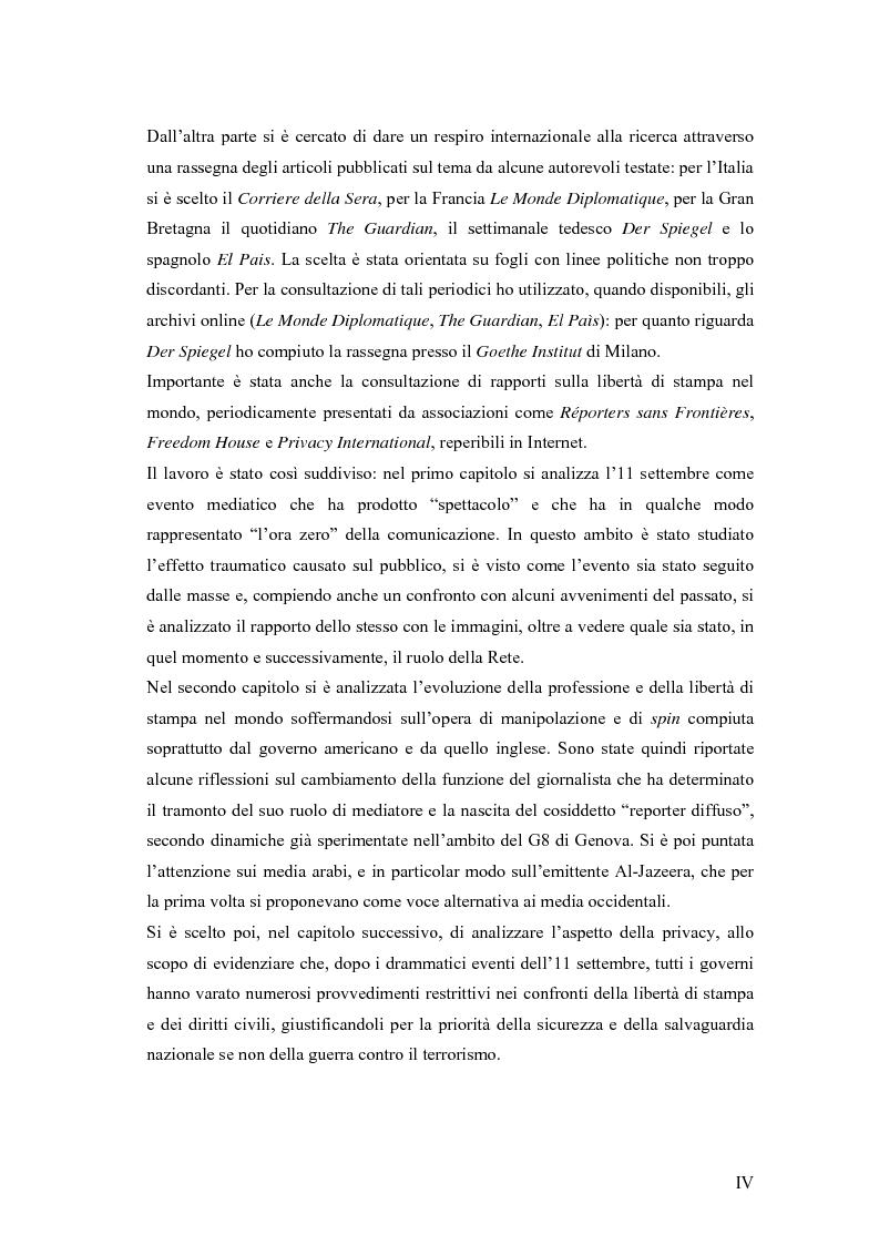 Anteprima della tesi: Il dibattito sull'informazione nella stampa internazionale dopo l'11 settembre 2001, Pagina 2
