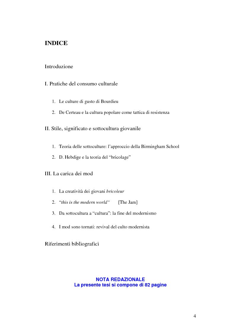 Indice della tesi: Stile di vita, musica e sottoculture giovanili: il caso dei mod., Pagina 1