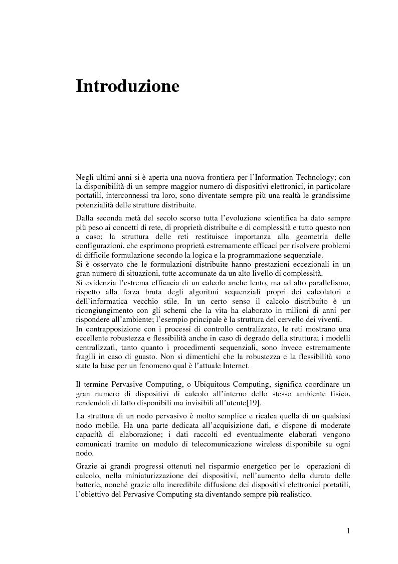 Anteprima della tesi: Protocolli di Routing per reti Ad Hoc e pervasive computing: un'applicazione all'Health Care, Pagina 1