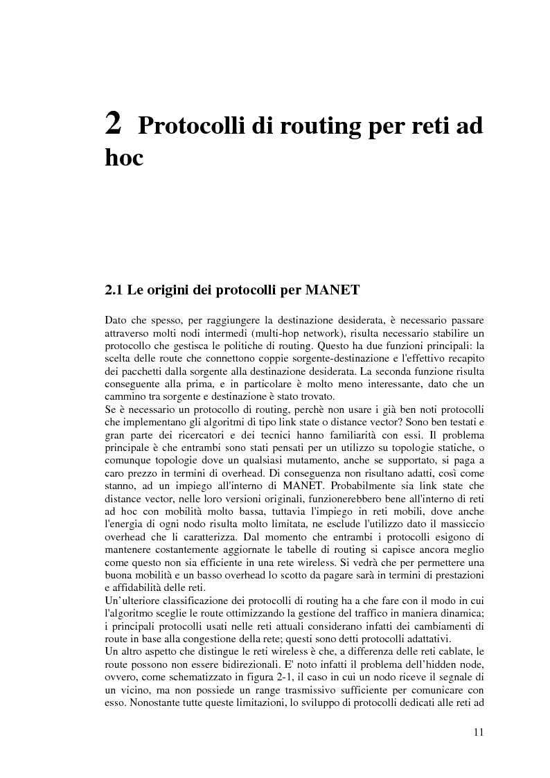 Anteprima della tesi: Protocolli di Routing per reti Ad Hoc e pervasive computing: un'applicazione all'Health Care, Pagina 10