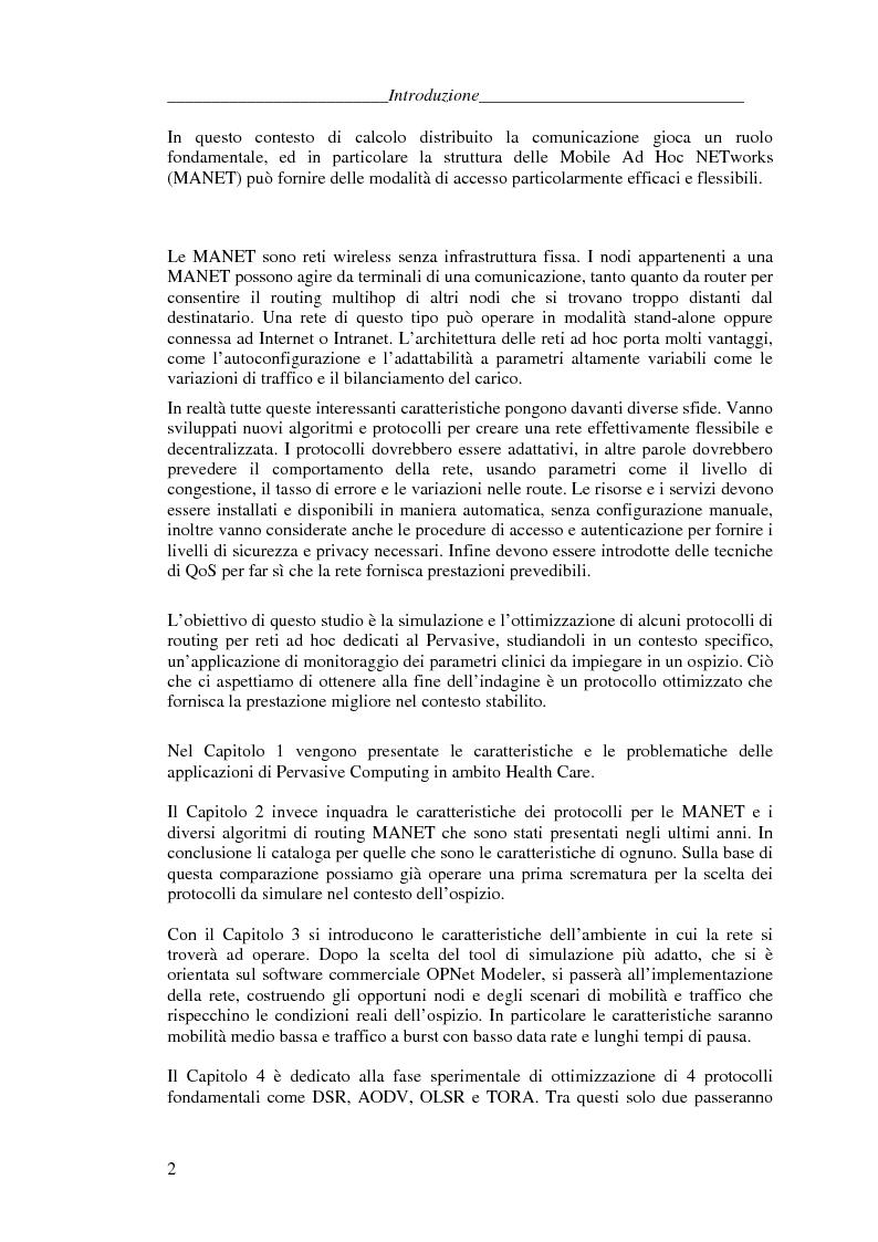 Anteprima della tesi: Protocolli di Routing per reti Ad Hoc e pervasive computing: un'applicazione all'Health Care, Pagina 2