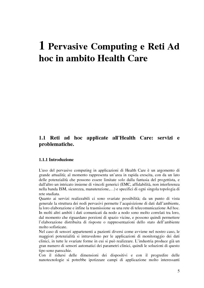 Anteprima della tesi: Protocolli di Routing per reti Ad Hoc e pervasive computing: un'applicazione all'Health Care, Pagina 4