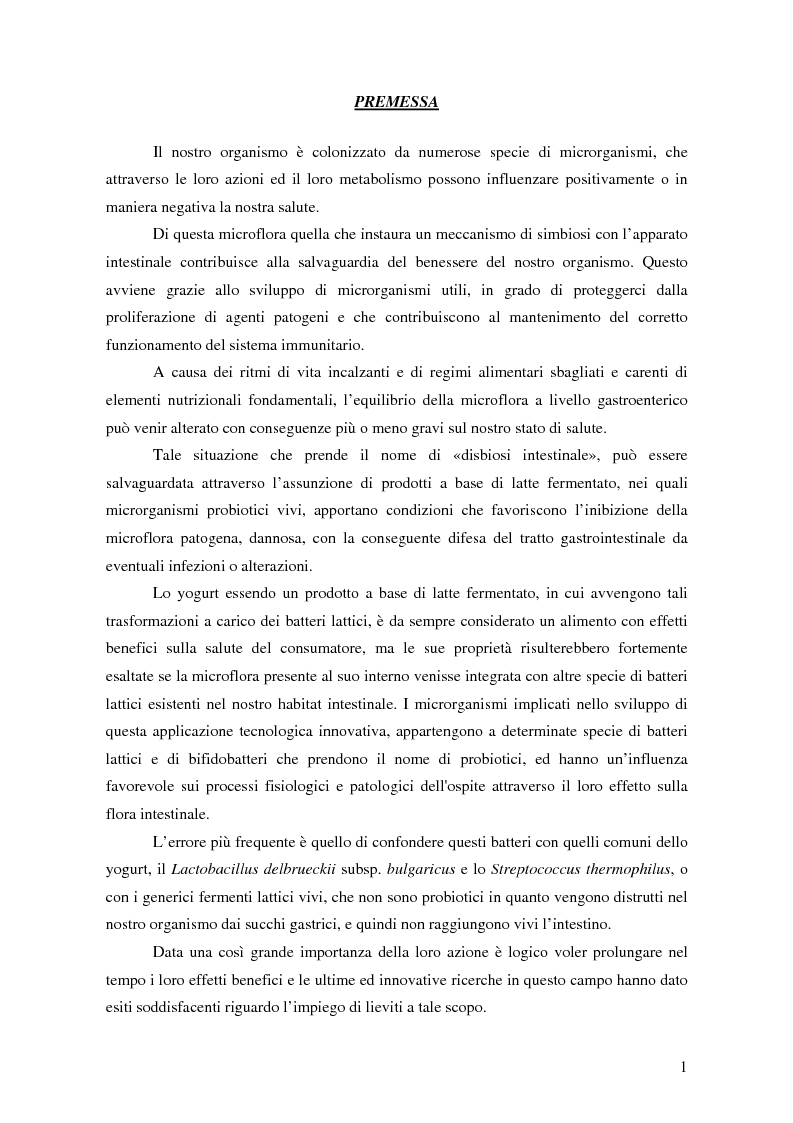 Anteprima della tesi: Impiego di lieviti per prolungare l'attività probiotica dei batteri lattici nello yogurt, Pagina 1