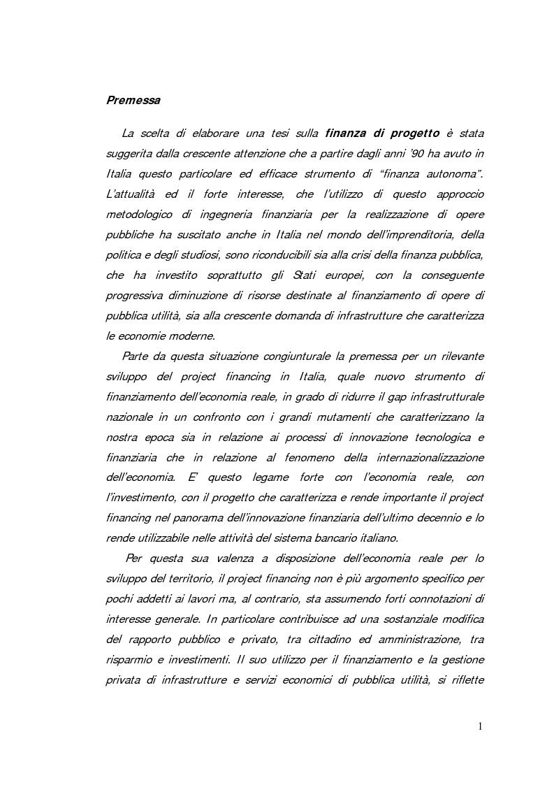Anteprima della tesi: Il project financing: strumento innovativo per il sistema bancario, Pagina 1