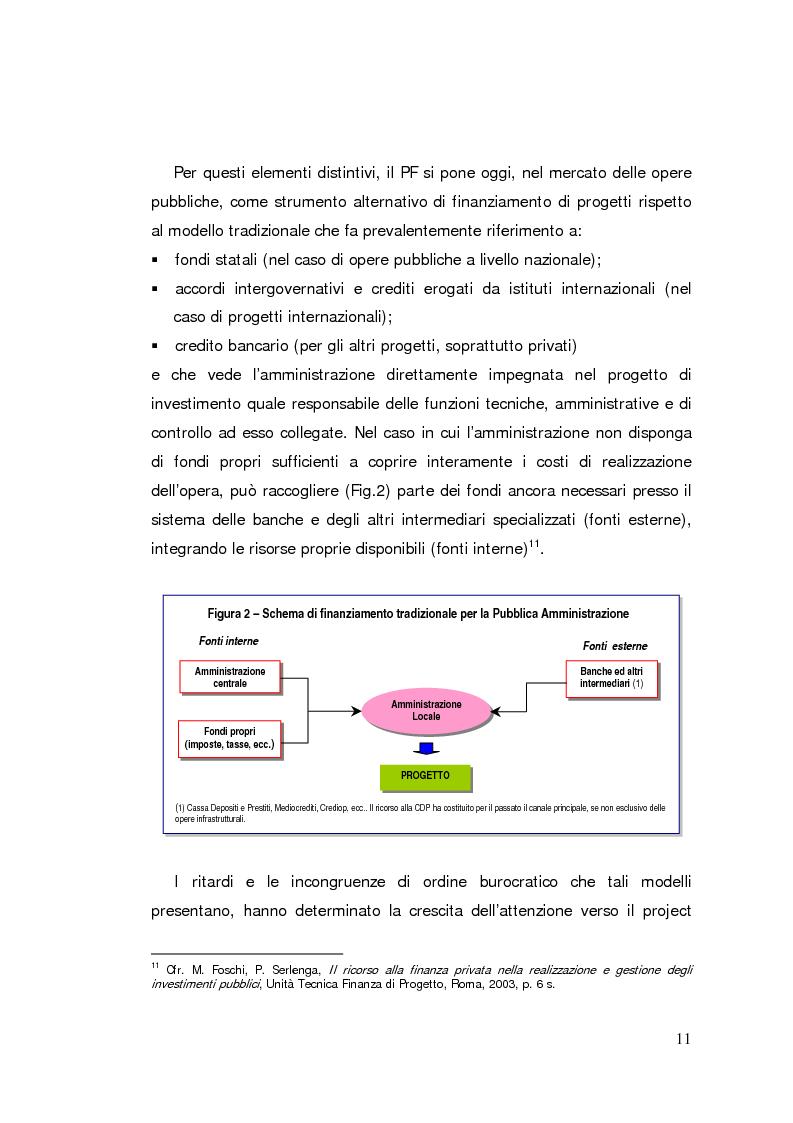 Anteprima della tesi: Il project financing: strumento innovativo per il sistema bancario, Pagina 11