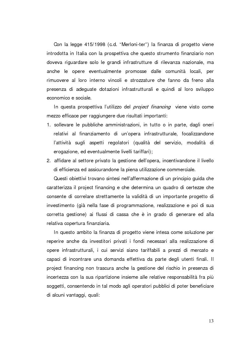 Anteprima della tesi: Il project financing: strumento innovativo per il sistema bancario, Pagina 13