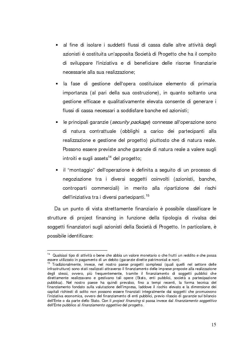 Anteprima della tesi: Il project financing: strumento innovativo per il sistema bancario, Pagina 15