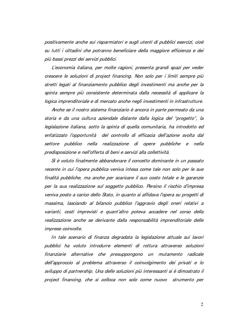 Anteprima della tesi: Il project financing: strumento innovativo per il sistema bancario, Pagina 2
