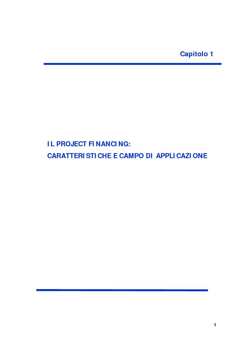 Anteprima della tesi: Il project financing: strumento innovativo per il sistema bancario, Pagina 4