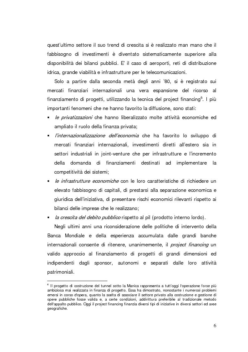 Anteprima della tesi: Il project financing: strumento innovativo per il sistema bancario, Pagina 6