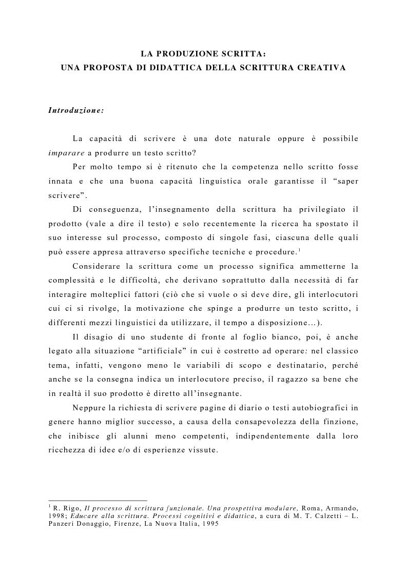 Anteprima della tesi: La produzione scritta: una proposta per la didattica della scrittura creativa nella scuola dell'obbligo, Pagina 1