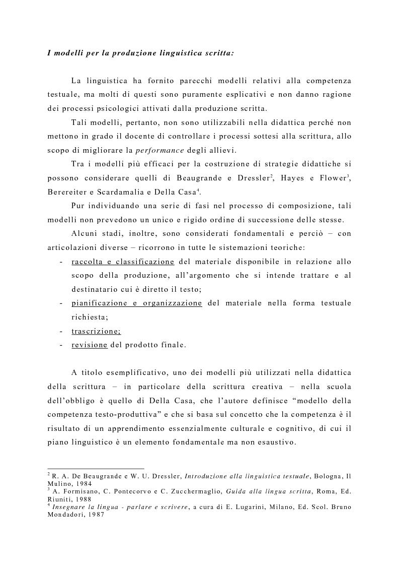 Anteprima della tesi: La produzione scritta: una proposta per la didattica della scrittura creativa nella scuola dell'obbligo, Pagina 3